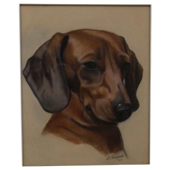 Daschund Dog Portrait Painting, L Church