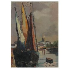 Moored Boats Oil on Canvas by Olga Mischkine, Russian Impressionist