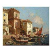 'Martigues' Impressionism Oil Painting, Merio Ameglio