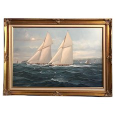 Racing Yachts Oil on Canvas, M Whitehand