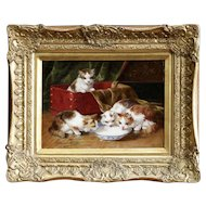 Kittens Drinking Milk Oil Painting, Arthur Brunel de Neuville