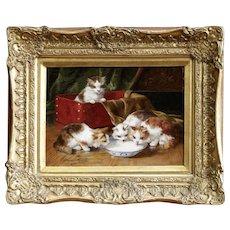 Kittens Drinking Milk Oil Painting, Arthur Brunel de Neuville
