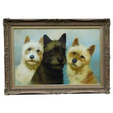 French School Oil on Canvas, Terrier Dogs Portrait, R. Le Blanche