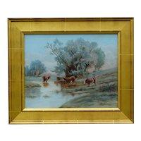 C. 1920, Plein Air Cattle Oil Painting