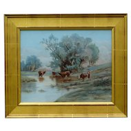 C. 1920, Plein Air Cattle Oil Painting