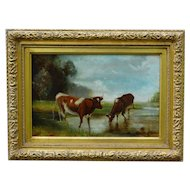 Antique Continental School Cattle Oil Painting