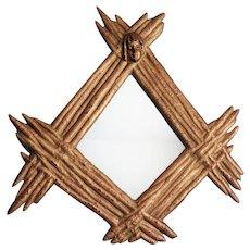 Organic 'Branches' Continental Gilt Wall Mirror with Cherub