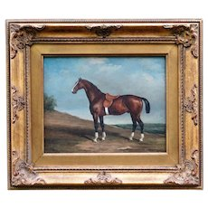 English School Race Horse Oil Painting, C Harrison