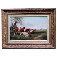 Antique Oil Painting, Cattle in a Bucolic Landscape, J T Burgess, 1896