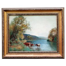 Antique English School Oil Painting Cattle & Lake