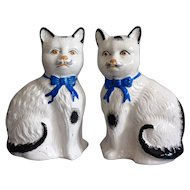 Antique English Staffordshire Cats, Pair