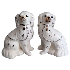 Antique White Staffordshire Dogs, Pair