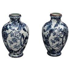 Antique Royal Bonn Vases, 'Tokio' Pattern, Pair, Blue & White