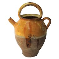 Antique French Pitcher Cruche, Mustard Yellow Color