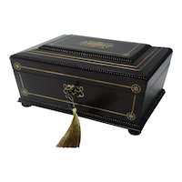 19th-Century Rosewood Jewelry Box, William IV, Lock & Key, Fine Quality