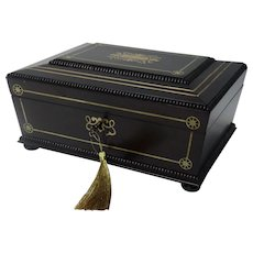19th-Century Rosewood Jewelry Box, William IV, Lock & Key, Fine Quality