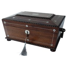 19th-Century Rosewood Jewelry Box, William IV, Lock & Key, Sarcophagus