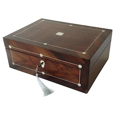 19th-Century French Rosewood Box, Lock & Key, Mother of Pearl