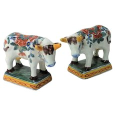 Antique Faience Dutch Delft Cows, Set of 2