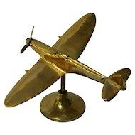 British Supermarine Spitfire Fighter Brass Model Plane, WW II