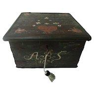19th-Century Swedish Marriage Chest Bride's Box Chest Trunk 1836, Lock & Key