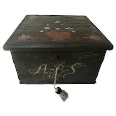 19th-Century Swedish Marriage Chest Bride's Box Chest Trunk 1836, Lock & Key