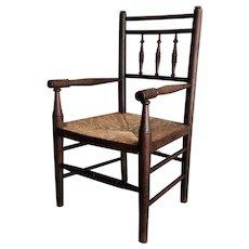 Antique English Child's Ladderback Arm Chair