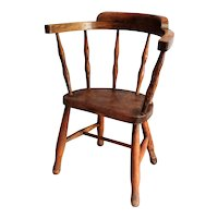 19th-Century English Elm Wood Child's Chair