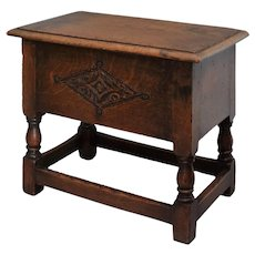 19th-Century English Elm Wood Joint Stool with Storage