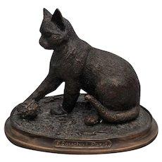 French Bronze Sculpture Figural Cat, F Souchel, Paris