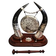 Antique English Edwardian Horn & Silver Table Gong
