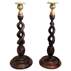 Antique English Twist Oak Candlesticks, Pair