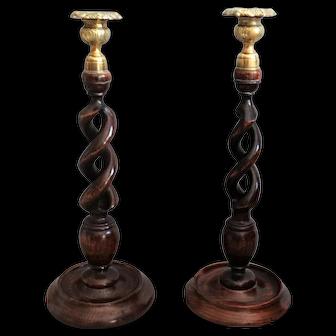 Antique English Twist Oak Candlesticks, Pair