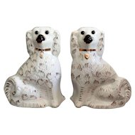 Antique English Staffordshire Spaniel Dogs, Pair, White, Models, Figurines