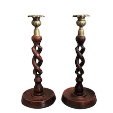 Antique English Oak Barley Twist Candlesticks, Carved Open Pair