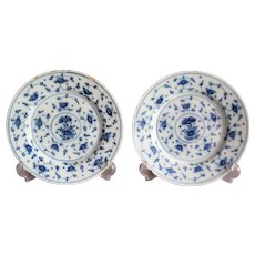 18th-Century Delft Chinoiserie Plates, Pair, Blue & White, Hand Painted Antique