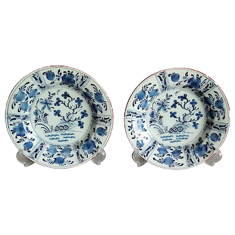 18th-C Delft Chinoiserie Plates, Pair Blue & White