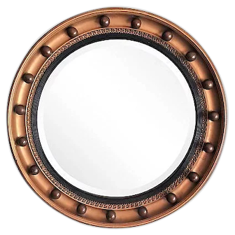 Art Deco English Convex Bullseye Mirror, Circa 1930