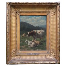 Cattle in a Landscape, Oil Painting, Willem Van Den Berg