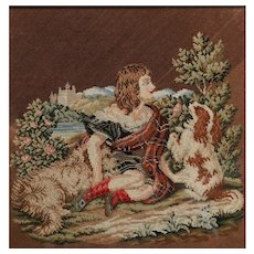 Antique Needlepoint Tapestry, Girl in Scottish Tartan, 2 Dogs, Balmoral Castle, Victorian
