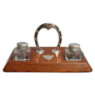 Antique English Equestrian Inkwell Desk Set