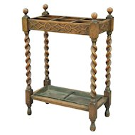 Antique English Oak Barley Twist Umbrella Stand, C. 1910