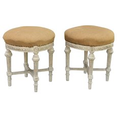 French Louis XVI-Style Stools Pair Carved, Gilt, Bench