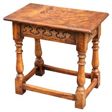 Antique English Burl Elm Wood Joint Stool, Pegged