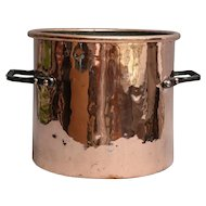 19th-Century Large English Copper Stock Pot, Iron Handles, 12 Pounds