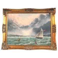 Across Weymouth Bay, P M Juniper Seascape Oil Painting, English School