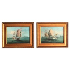 19th-C Chinese Junks Oil on Panel, Pair, English School