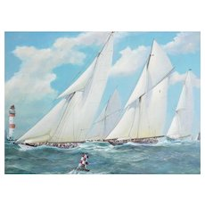 Nautical Yacht Racing Oil on Canvas, M Whitehand, English School