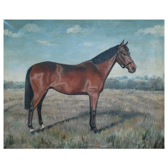 Antique English Oil Painting, Bay Horse in a Landscape, E Richardson