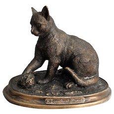 French Bronze Cat Sculpture Signed, F Souchal, Paris
